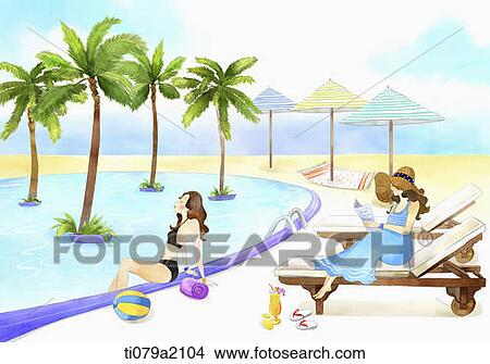 An Illustration Of A Woman Beside Pool