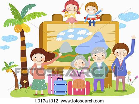 Clip Art Of Illustration A Family On Holiday Ti017a1312