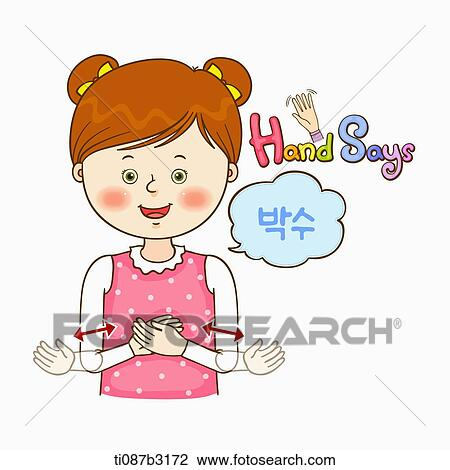 Clip Art of an illustration of a child doing sign language ...