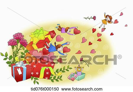 Stock Illustrations of illustration of people flying with hearts ...