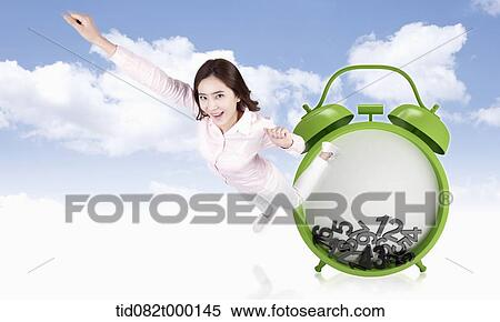 Stock Illustration Of A Woman Flying Away From A Alarm ...