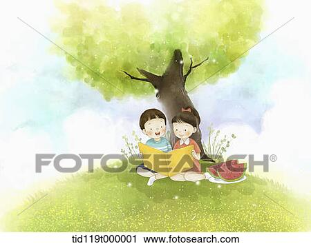 clipart of illustration of kids reading a book under a