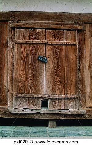 ... , cucina, porta, serratura, albero, legno, materiali, legno, dispensa