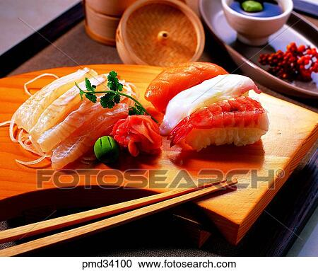 Stock photography of fish callifornia roll raw fish for Is sushi raw fish