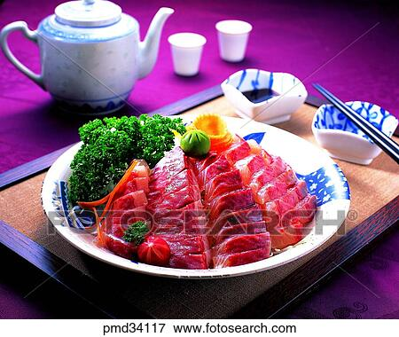 Picture of raw fish drink liquor alcohol relish side for Raw fish dish