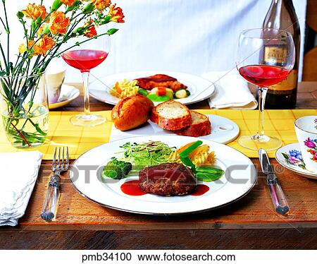 Stock Photography of pork cutlet, pork cutlet, table ...