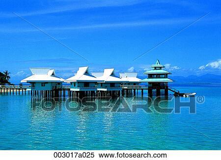 stock image of philippines dospalmas island sea house. Black Bedroom Furniture Sets. Home Design Ideas