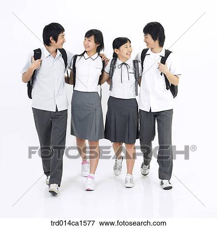 Gals asiatiques de l'adolescence va