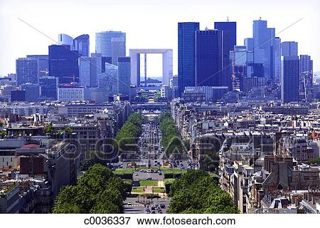 Picture of view of the paris skyline with the grande arch de la picture view of the paris skyline with the grande arch de la defense in the voltagebd Choice Image