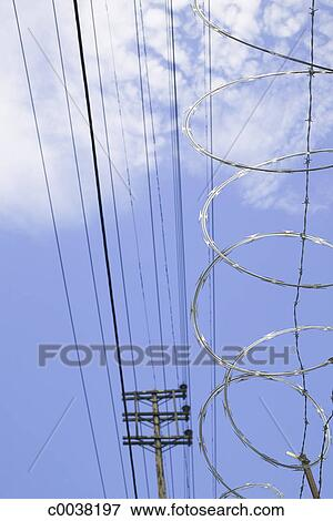 Overhead Electrical Wires And Razor Wire