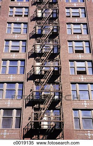 stock image of ladder apartment building handrail fire