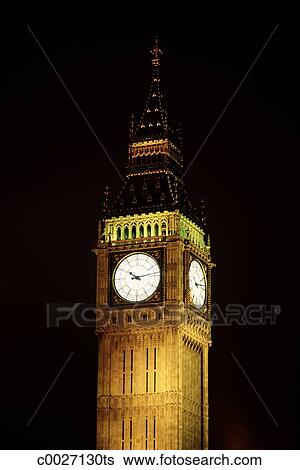 Stock Images of A close-up of Big Ben at night in London ...