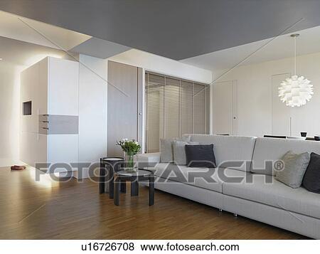 Immagini - grigio, divano, in, soggiorno, con, pavimenti legno duro u16726708...