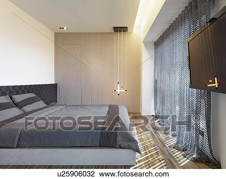 banque de photo sombre color dessus de lit sur moderne lit u25906032 recherchez des. Black Bedroom Furniture Sets. Home Design Ideas