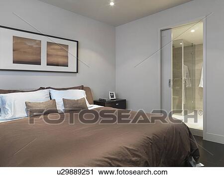 Arkivfotografi   brun, seng, inn, minimalistic, soverom u29889251 ...