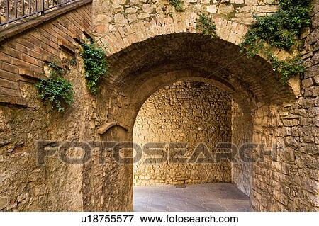 View Of Medieval Stone Arch In Village Part Of External Tower Gate Of