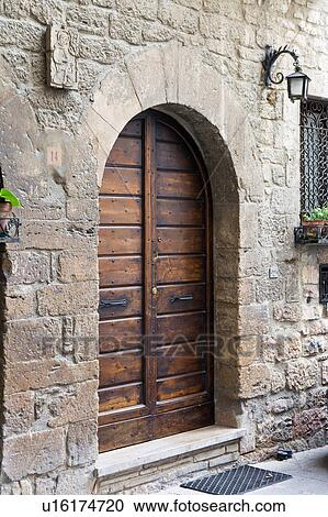 Stock Photography Of View Of Old Double Wooden Arched Door