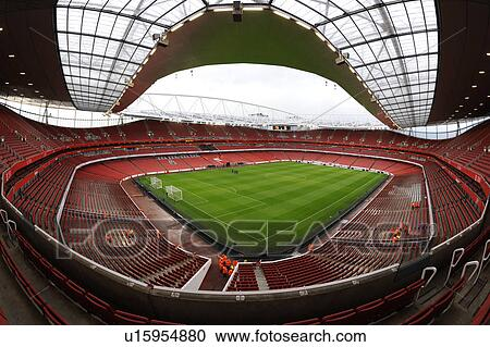 Stock photography of england london arsenal inside the for Emirates stadium mural
