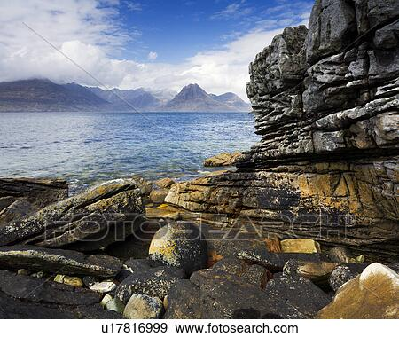Stock Photo of Scotland, Highland, Elgol. View from the rocky ...