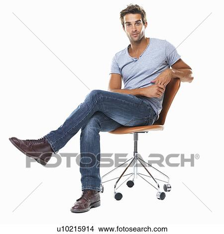 Man Sitting Cross Legged Side View Stock Photo of Portrai...