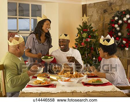 Pictures of Adult African American family having Christmas ...