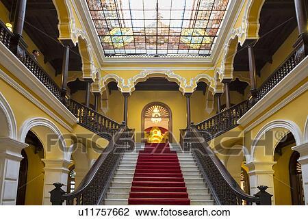 Stock Photo   Archbishopsu0027 Palace: Interior Detail Of Red Carpeted  Staircase, Mahogany