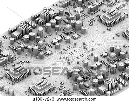 Stock Photo of Circuit board. Computer artwork depicting city scape ...