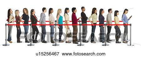people waiting in line categorized in
