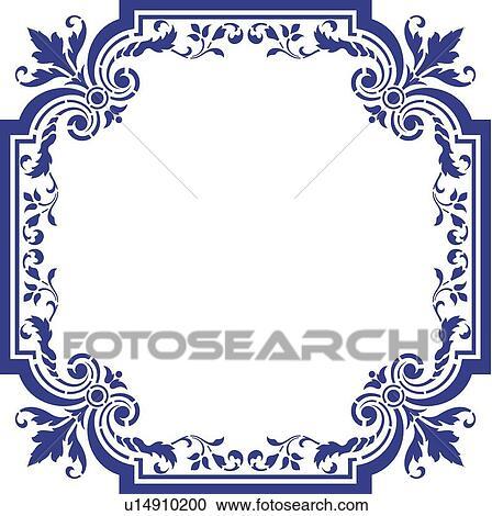 Clipart Of Blue Fancy Frame U14910200