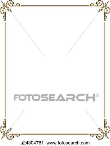 Clipart Of Gold Border With Decorative Corner U24804781