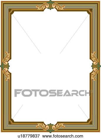 Clip Art Of Green And Gold Leaf Victorian Border