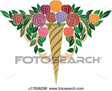 Clip Art Of Green Purple Red And Orange Flower Design Ornament