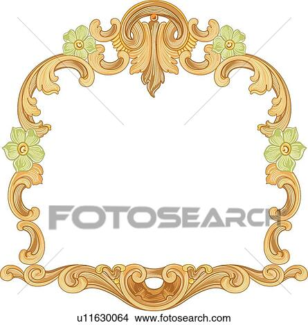 clipart gold square frame with green flowers fotosearch search clip art illustration