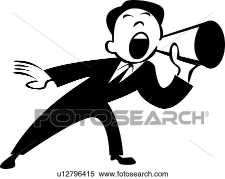Megaphone Man Clipart Clipart Retro Man in Suit