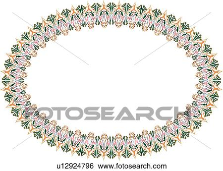 Clip Art of Green pink and gold oval frame u12924796 - Search ...