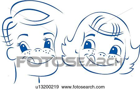 Clip Art of Freckled children's faces u13200219 - Search Clipart ...