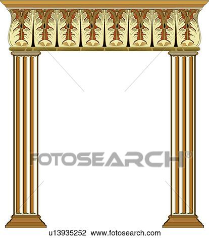 Gold Column Vector Brown And Gold Columns