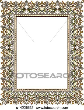 clipart of silver fancy arabesque border u14226535