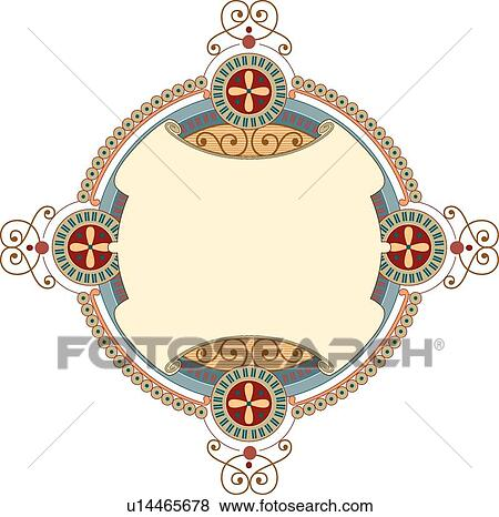 Clip Art of Round Teal and Tan Banner u14465678 - Search ...