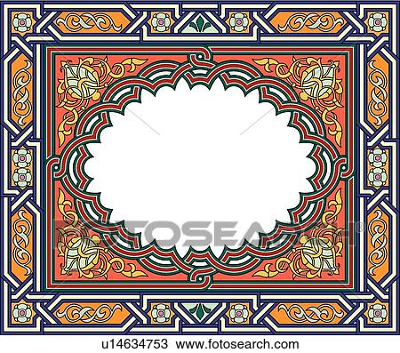 剪贴画 - 红, 桔子, 金子, 同时,蓝色, 水平, 长方形, 蔓藤花纹, 框架