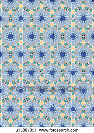 Clipart of Blue teal and peach star background pattern ...