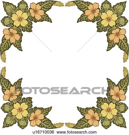 clip art orange und gelbe bl ten mit gr n lassen rahmen u16710036 suche clipart. Black Bedroom Furniture Sets. Home Design Ideas
