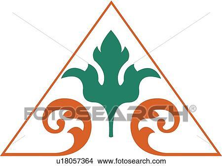 Clipart triangolo arancia contorno con foglia verde - Foglia canadese contorno foglia canadese ...