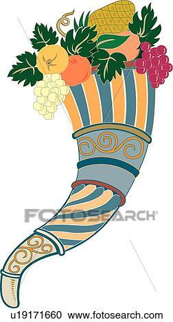 Clipart frutta cornucopia disegno ornamento u19171660 for Clipart frutta