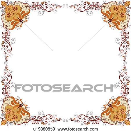clip art orange red and gold square arabesque frame with decorative corners fotosearch