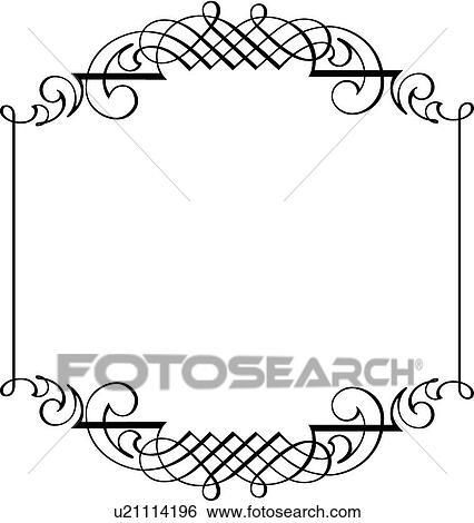 Clip Art Of Calligraphic Design Of Proportional Line Art