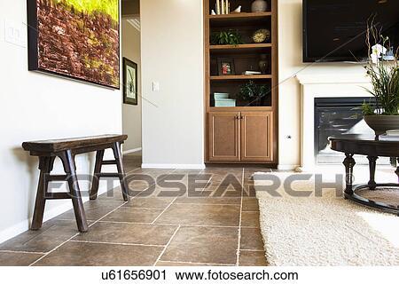Area Rug On Tile Floor In Living Room Tustin California Usa