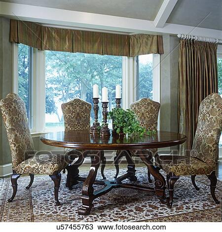 Stock Photo Of DINING ROOMS Table And Chairs In Front Bay Window