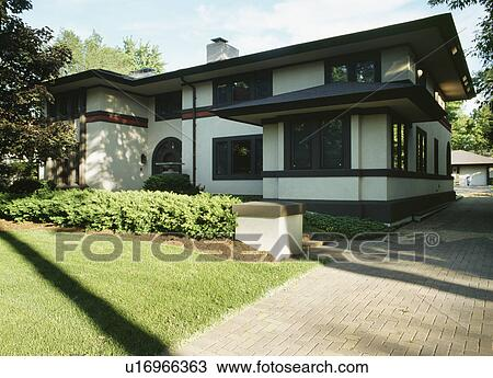 Stock Photo Of EXTERIORS Two Story Single Family Home Prairie