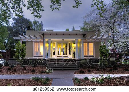 Stock Photo Of Front Exterior California Bungalow And Landscaping